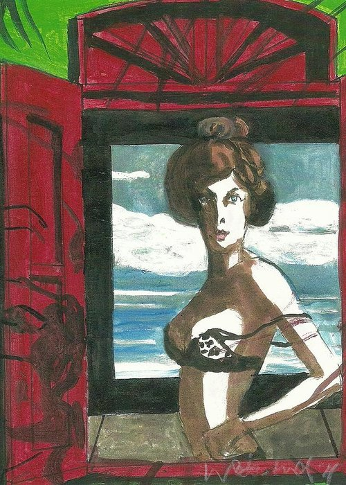 Woman Greeting Card featuring the painting Woman In Window With Red Shutters by Harry Weisburd