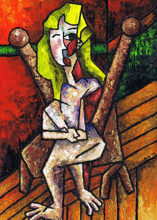 Woman On Wooden Chair Greeting Card featuring the painting Woman On Wooden Chair by Kamil Swiatek