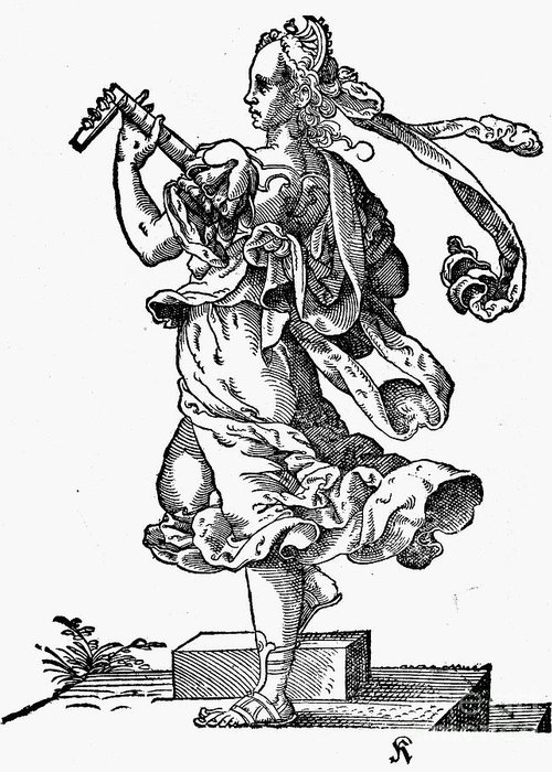 Engraving Greeting Card featuring the photograph Woman Playing The Lute by Granger