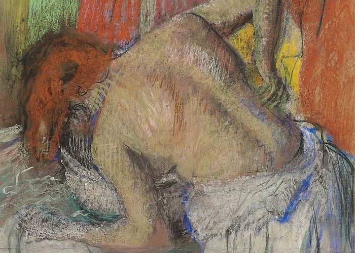 Woman; Washing; Back; Rear View; Female; Drawing; Impressionist; Nude; Bather; Bathing; Voyeurism; Basin; Interior; Domestic; Intimate; Bending; Woman Washing Her Back Greeting Card featuring the pastel Woman Washing Her Back by Edgar Degas