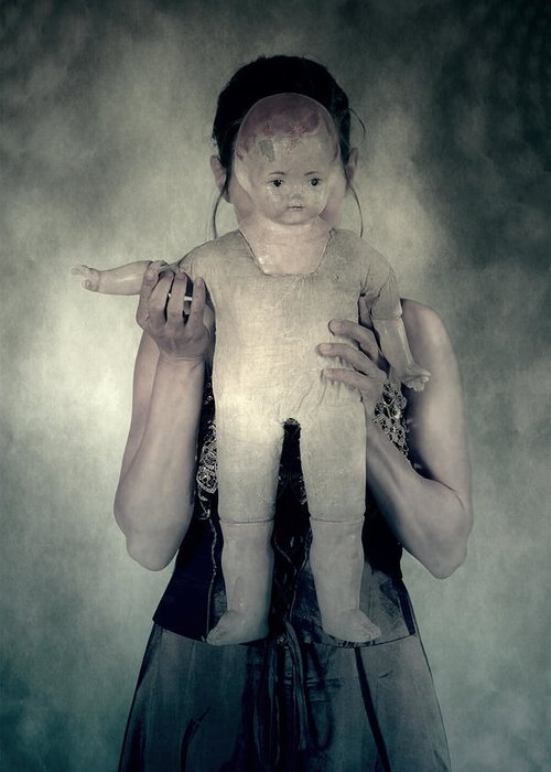Hide Greeting Card featuring the photograph Woman With Doll by Joana Kruse