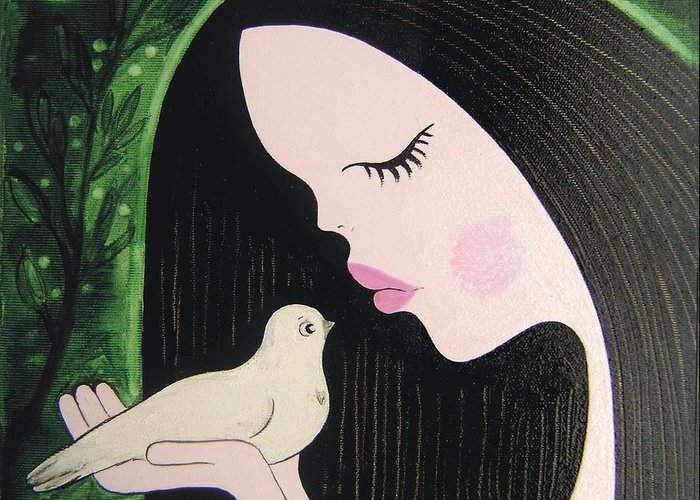 Bird Greeting Card featuring the painting Woman With Dove by Maria Nikolova