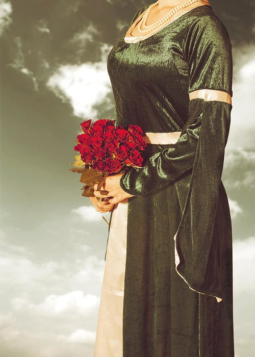Female Greeting Card featuring the photograph Woman With Roses by Joana Kruse