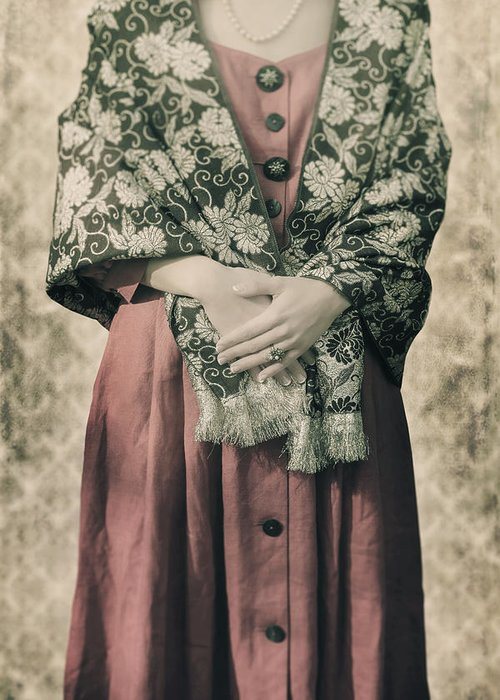 Woman Greeting Card featuring the photograph Woman With Shawl by Joana Kruse