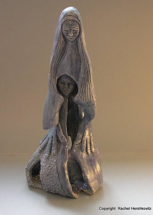 Womb Greeting Card featuring the sculpture Womb Ceramics Sculpture In Grey Woman And Child In Her Womb Large Hands Long Hair  by Rachel Hershkovitz
