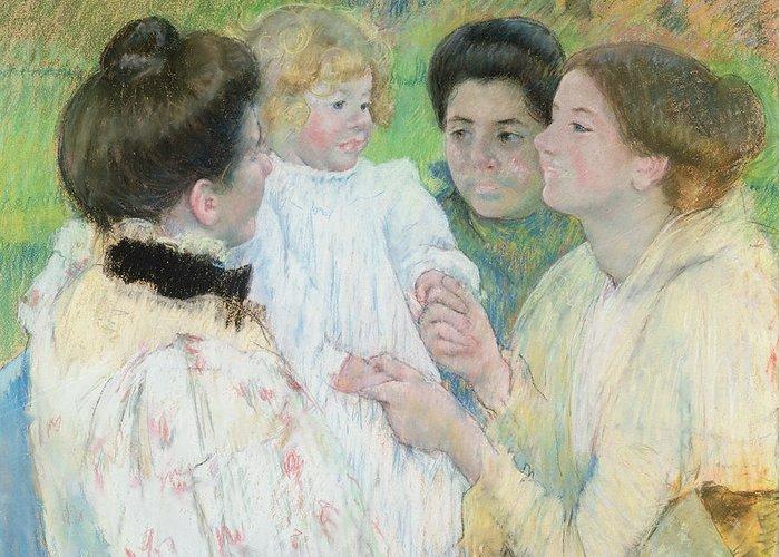 Women Greeting Card featuring the painting Women Admiring A Child by Mary Stevenson Cassatt