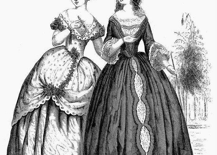 1851 Greeting Card featuring the photograph Womens Fashion, 1851 by Granger