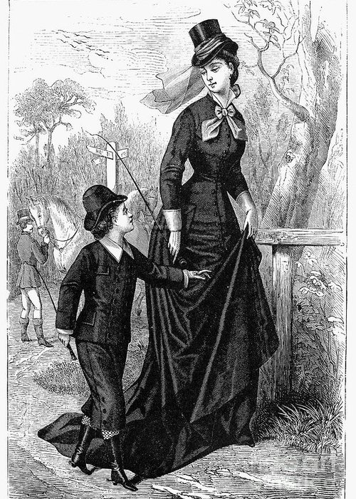 1876 Greeting Card featuring the photograph Womens Fashion, 1876 by Granger