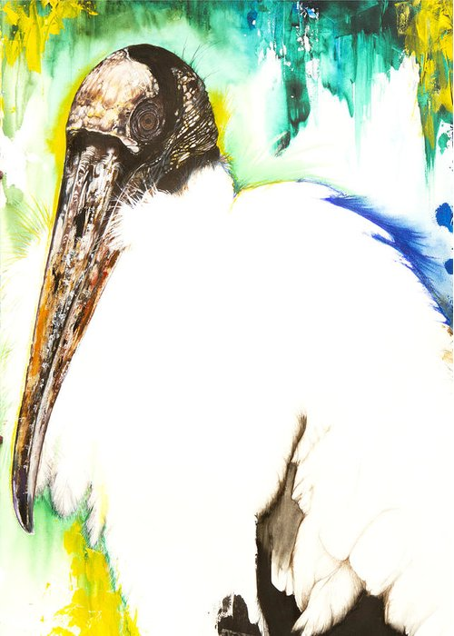 Bird Florida Greeting Card featuring the mixed media Wood Stork by Anthony Burks Sr