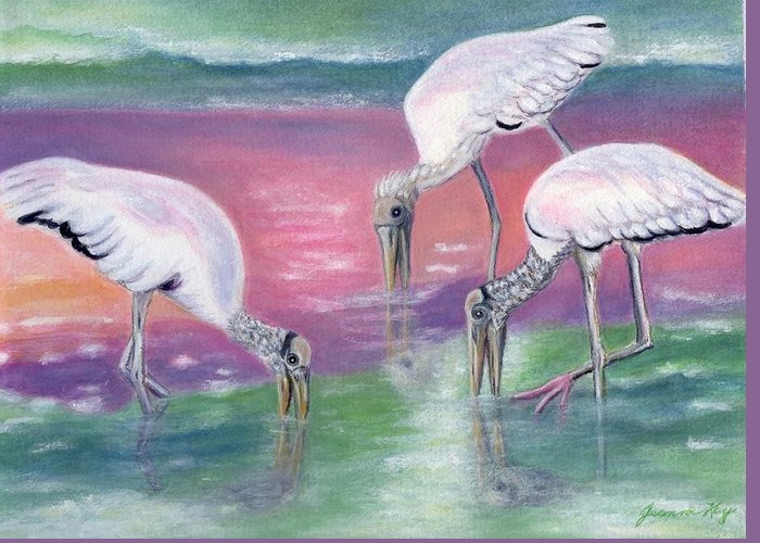 Wood Storks Greeting Card featuring the painting Wood Stork Family At Sunset by Jeanne Kay Juhos