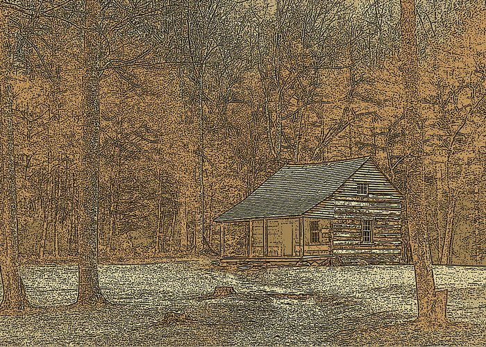 Jim Finch Greeting Card featuring the photograph Woodcut Cabin by Jim Finch