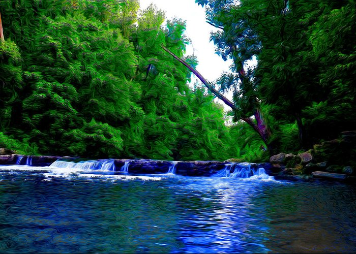 Wooded Waterfall Greeting Card featuring the photograph Wooded Waterfall by Bill Cannon