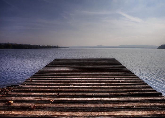 Dock Greeting Card featuring the photograph Wooden Bridge by Joana Kruse