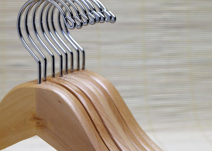 Close Up Greeting Card featuring the photograph Wooden Clothes Hangers by Skip Nall