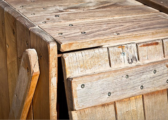 Background Greeting Card featuring the photograph Wooden Crate by Tom Gowanlock