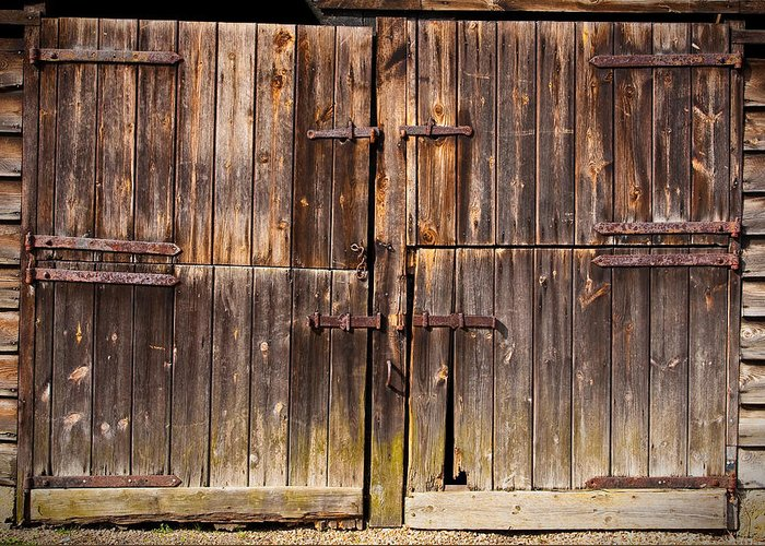 Abandoned Greeting Card featuring the photograph Wooden Door by Tom Gowanlock