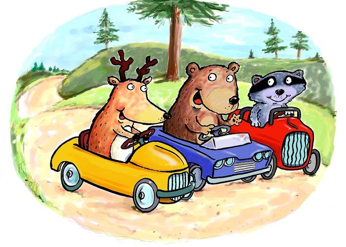 Scott Nelson Greeting Card featuring the digital art Woodland Traffic Jam by Scott Nelson