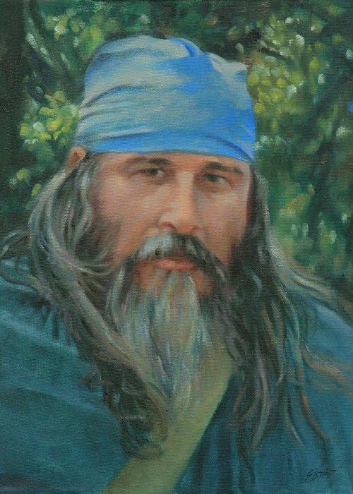 Woodsman Greeting Card featuring the painting Woodsman by Linda Eades Blackburn