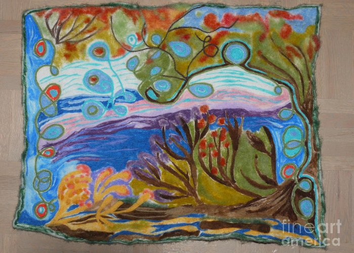 Nature Greeting Card featuring the painting Woolscape by Heather Hennick