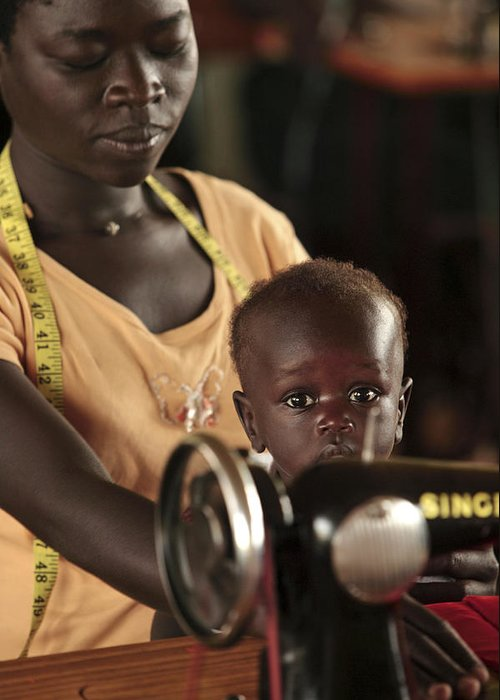 Equipment Greeting Card featuring the photograph Working Mother And Child, Uganda by Mauro Fermariello