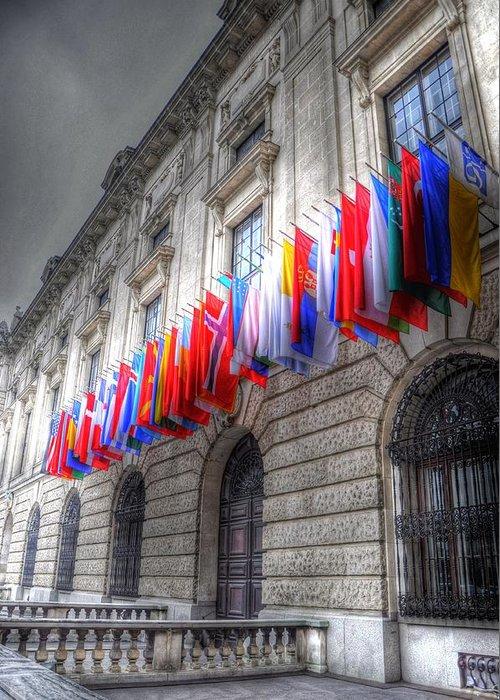 Prague Czech Republic Greeting Card featuring the digital art World Flags by Barry R Jones Jr