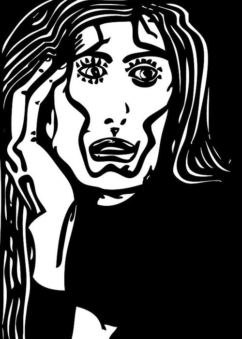 Black Greeting Card featuring the drawing Worried by Artistic Photos