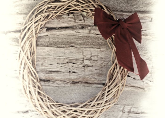 Christmas. Woven Greeting Card featuring the photograph Woven Reed Wreath by Linda Phelps