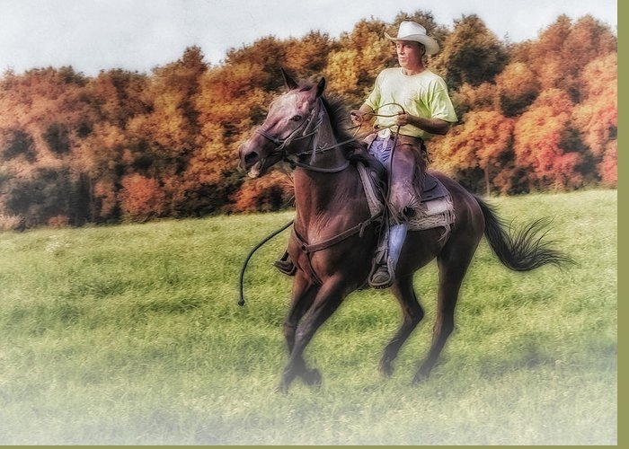 Horse Greeting Card featuring the photograph Wrangler And Horse by Susan Candelario