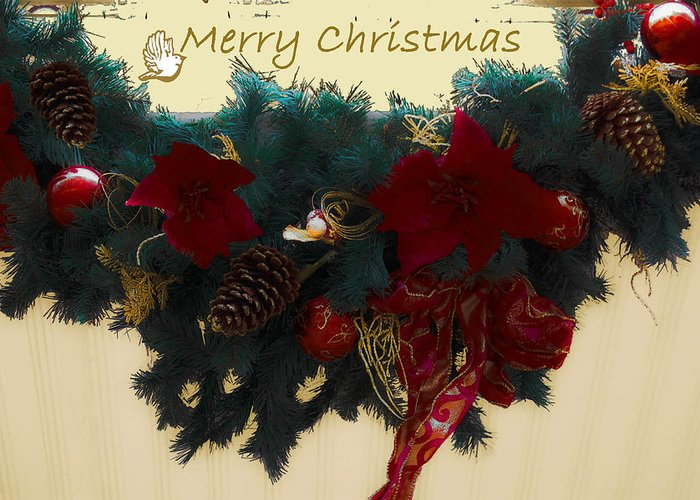 Wreath Greeting Card featuring the photograph Wreath Garland Greeting by DigiArt Diaries by Vicky B Fuller