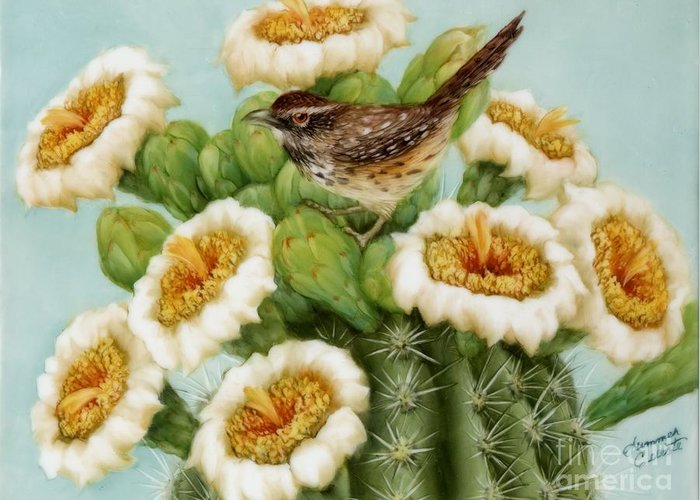 Wren Greeting Card featuring the painting Wren And Saguaro Blossoms by Summer Celeste