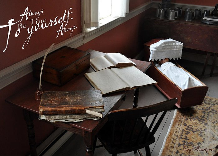 The Writing Desk Greeting Card featuring the photograph Writers Desk by Daryl Macintyre