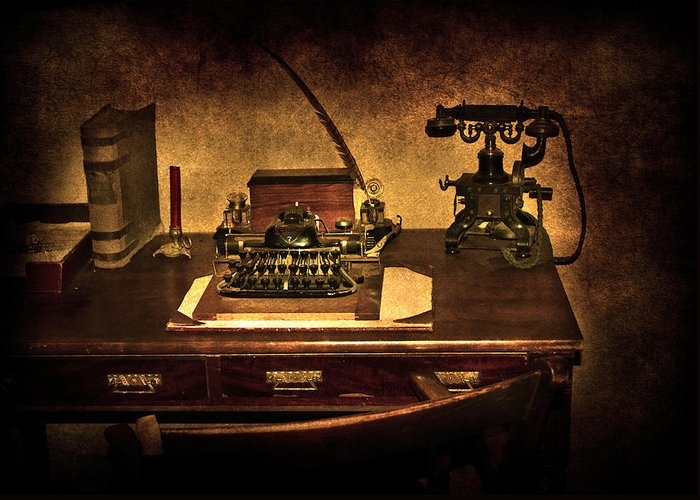 Alphabet Greeting Card featuring the photograph Writers Desk by Svetlana Sewell