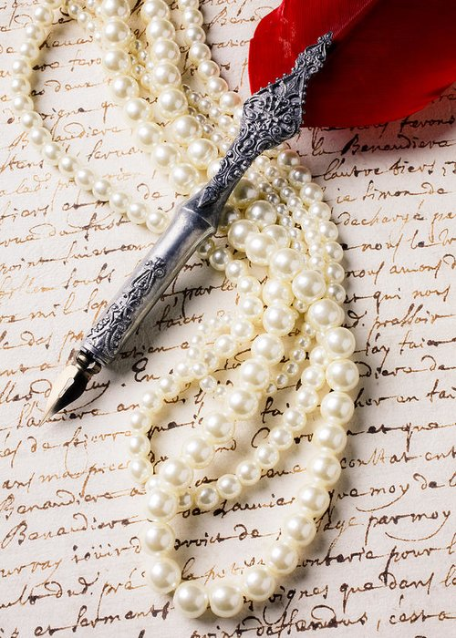 Writing Pen Pearls Old Letter Greeting Card featuring the photograph Writing Pen And Perals by Garry Gay