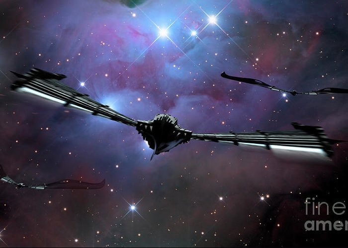 Horizontal Greeting Card featuring the digital art Xeelee Nightfighters, Inspired by Rhys Taylor
