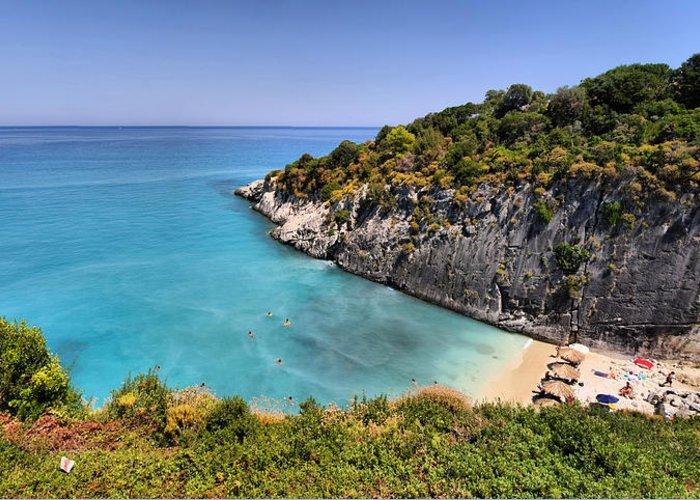 Beach Greeting Card featuring the photograph Xigia Beach by Itay Gal