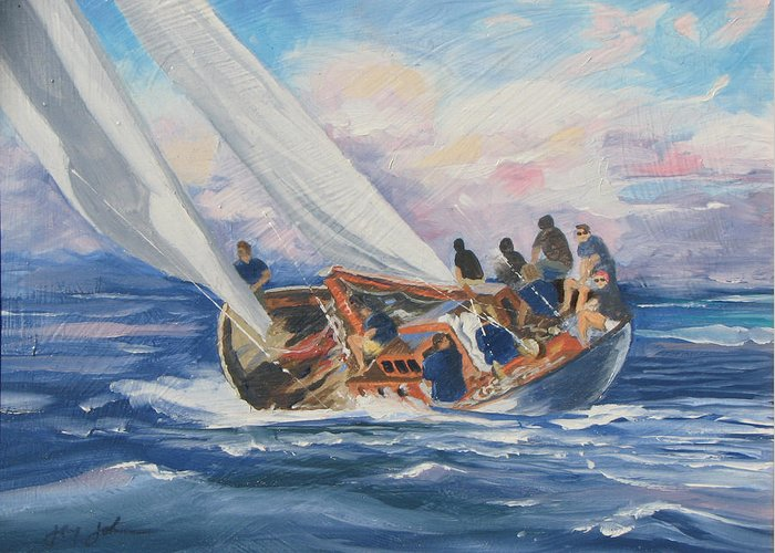 Seascape Boats Italy Greeting Card featuring the painting Yacht Club by Jay Johnson