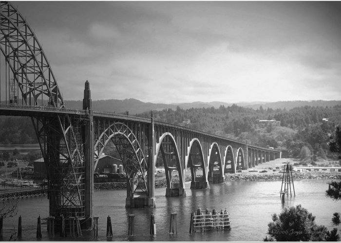 Yaquina Greeting Card featuring the photograph Yaquina Bay Bridge Oregon B And W by Joyce Dickens