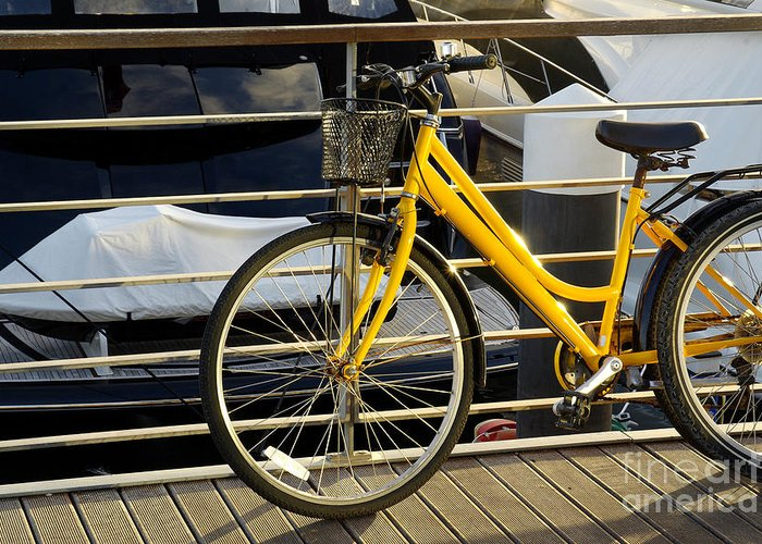 Activity Greeting Card featuring the photograph Yellow Bicycle by Carlos Caetano
