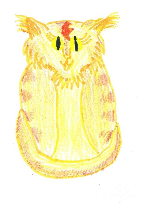 Cat Greeting Card featuring the drawing Yellow Cat by Jeannie Atwater Jordan Allen
