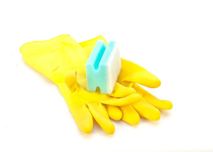 Background Greeting Card featuring the photograph Yellow Gloves by Tom Gowanlock