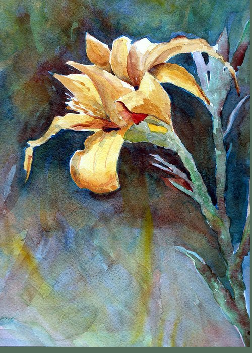Iris Greeting Card featuring the sculpture Yellow Iris by Alan Smith