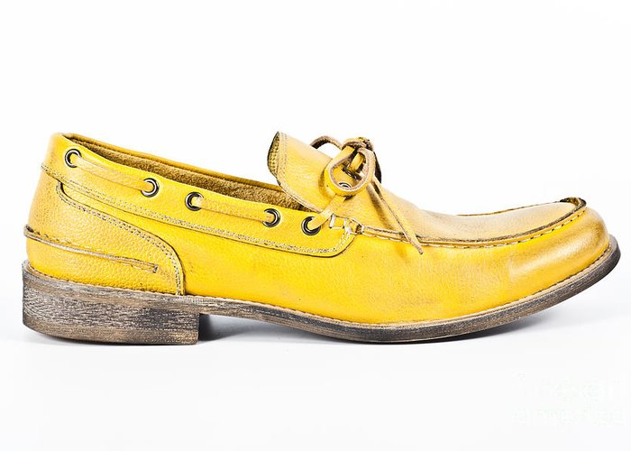 Accessory Greeting Card featuring the photograph yellow Mens shoe by Chavalit Kamolthamanon