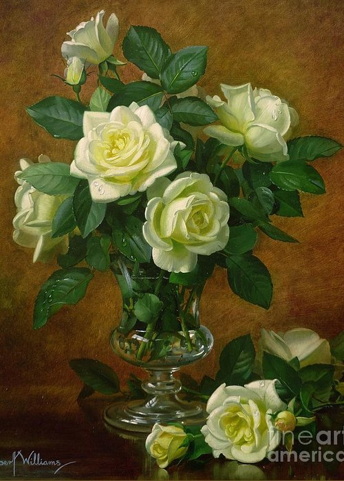 Rose; Still Life; Flower; Arrangement; Glass; Vase; Pale; Floral; Sentimental; Symbolic; Roses; Flowers; Yellow Roses; Leafs; Yellow Roses On Floor Greeting Card featuring the painting Yellow Roses by Albert Williams