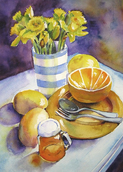 Still Life Greeting Card featuring the painting Yellow Still Life by Susan Herbst