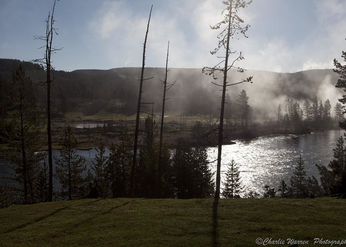 Yellowstone Greeting Card featuring the photograph Yellowstone Morning by Charles Warren