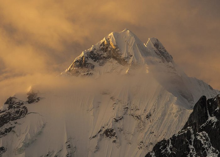00498216 Greeting Card featuring the photograph Yerupaja Summit Ridge 6617m At Sunset by Colin Monteath