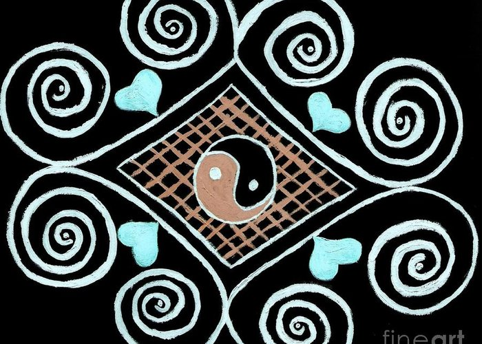 Drawing Greeting Card featuring the painting Yin Yang Swirls On Black by Jeannie Atwater Jordan Allen