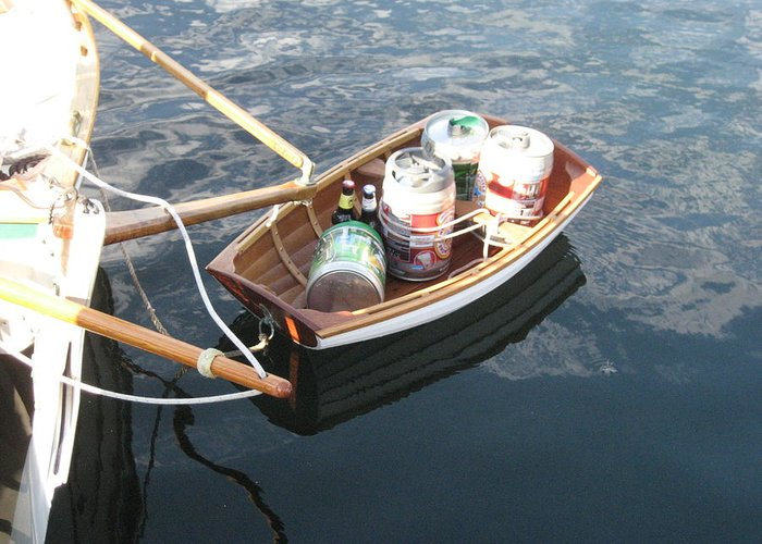Wooden Rowboat Greeting Card featuring the photograph Yo Ho Ho And A Skiff Full Of Beer by Kym Backland