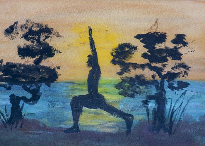 Yoga High Lunge Pose Greeting Card featuring the painting Yoga High Lunge Pose by Donna Walsh