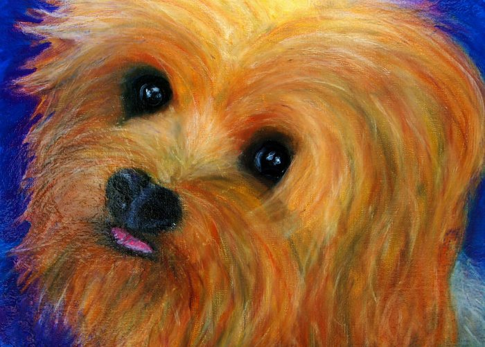 Painting Greeting Card featuring the painting Yorkie by Laura Grisham